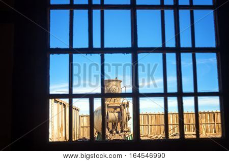 View through a window in Humberstone Chile