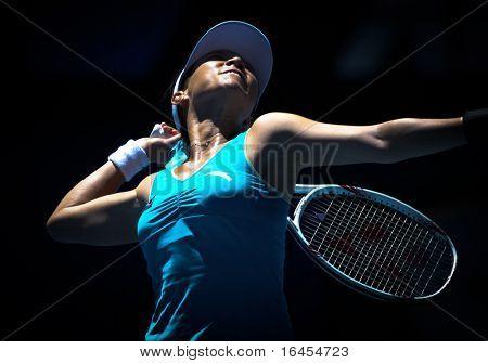MELBOURNE, AUSTRALIA - JANUARY 26: Jie Zheng in action at her quarter final win over Maria Kirilenko during the 2010 Australian Open on January 26, 2010 in Melbourne, Australia