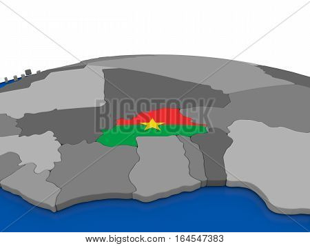 Burkina Faso On 3D Globe