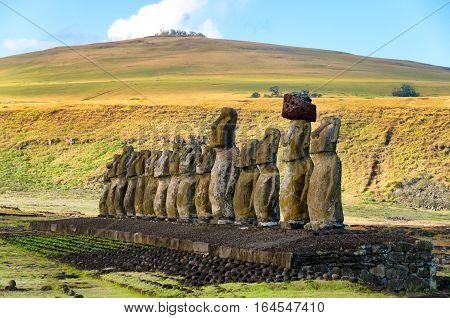 View of Ahu Tongariki on Easter Island Chile