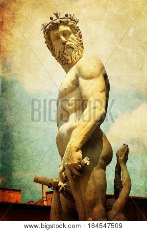 Vintage Style Picture Of Neptune In Florence