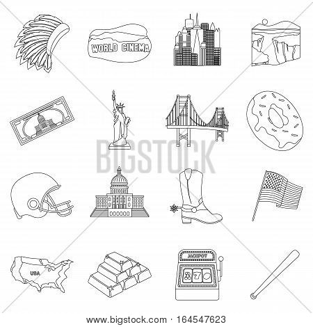 USA country set icons in outline design. Big collection of USA country vector symbol stock illustration