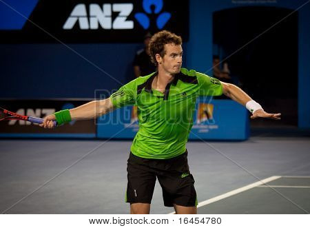 MELBOURNE - JANUARY 28: Andy Murray of Great Britain in his semi final  win over David Ferrer of Spain in the 2011 Australian Open on January 28, 2011 in Melbourne, Australia.