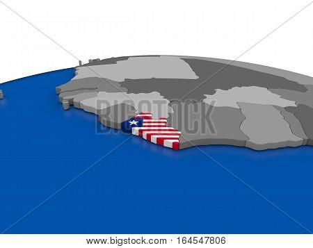 Liberia On 3D Globe