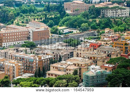Aerial view of the buildings and streets from the roof point of The Papal Basilica of St. Peter in Vatican city Italy