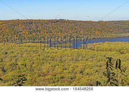 MIdwest River Valleys in the Fall where the MIssissippi and Wisconsin Rivers meet in Wyalusing State Park in Wisconsin