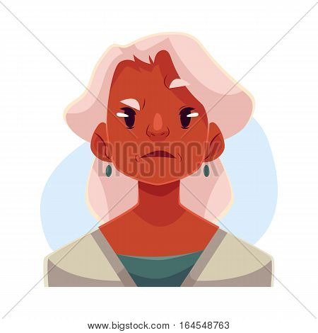 Grey haired old african lady, angry facial expression, cartoon vector illustrations isolated on blue background. Old black woman, feeling distressed, frustrated, sullen, upset. Angry face expression