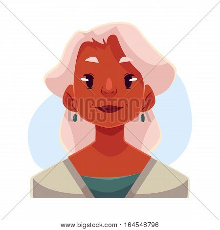 Grey haired old african lady, neutral facial expression, cartoon vector illustrations isolated on blue background. Old black woman feeling glad, serene, relaxed, delighted. Neutral face expression