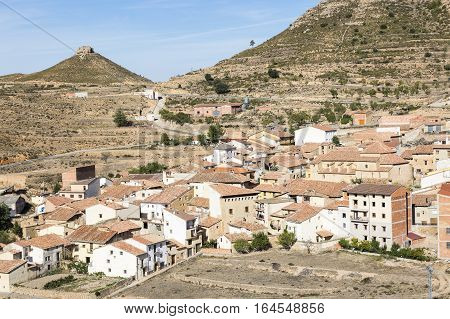 a view over Olocau del Rey town, Province of Castellón, Spain