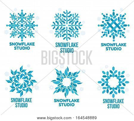 Set of blue and white snowflake vector logo templates isolated on white background. Geometrical abstract snowflake logo, frozen product, Christmas celebration, winter activities logo design