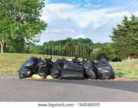 Multiple bags or sacks of rubbish or trash waiting by roadside in rural suburban development during house sale and move
