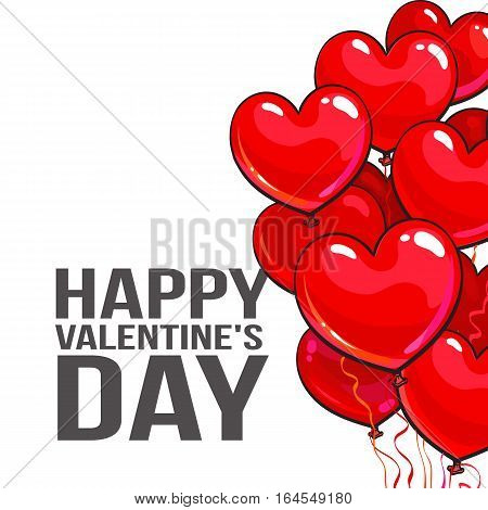 Valentine day greeting card with a bunch of glossy heart shaped balloons on white background, cartoon vector illustration. Bunch of pink and red heart balloons, symbol of love, greeting card template