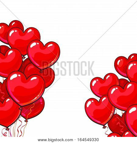 Bunches of bright and colorful glossy heart shaped balloons, cartoon vector illustration isolated on white background. Bunches of red colored heart balloons, symbol of love, greeting card template