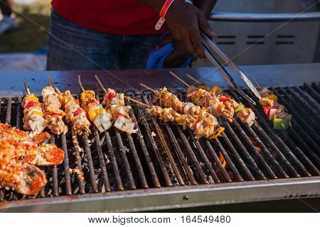 Freshly grilled giant lobsters. Lobster food festival. Lobster bbq.