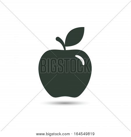 Apple icon vector isolated black silhouette sign.