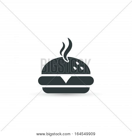 Fast food burger icon vector isolated simple silhouette illustration.