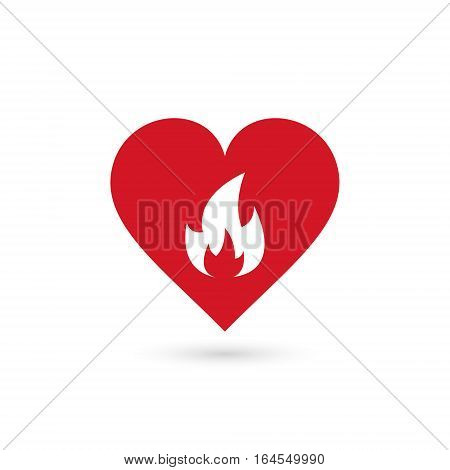 heart in fire symbol vector simple isolated sign.