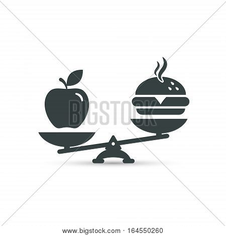 Hamburger and apple on scales. Balance between fast and healthy food. Diet nutrition fitness and health concept. vector illustration.