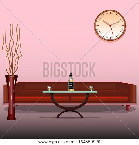 Art Interior living room. Design template. Red sofa. Liquor whiskey, cognac, brandy. Decorative vase. Vector illustration