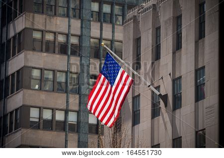 US flag in the streets of manhattan