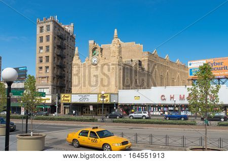 JERSEY CITY USA - APRIL 30 2016: Exterior of the Landmark Loew's Jersey theatre. Opened in 1929 it was one of the five Loew's Wonder Theatres a series of flagship Loew's movie palaces in the New York City area.