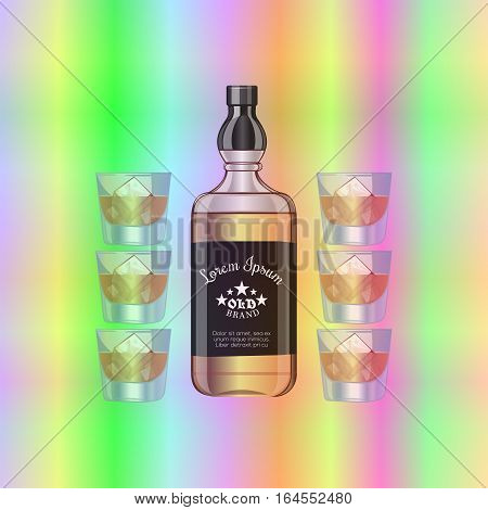 The bar counter. Shining rainbow. Bright light illumination. A bottle of liquor. Cognac five stars. glass with ice. Vector illustration