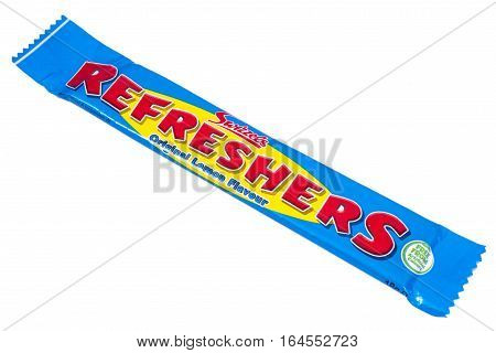 LONDON UK - JANUARY 4TH 2017: A studio shot of a Lemon flavour Refreshers Chewy Bar over a plain white background on 4th January 2017. The product is made by the Swizzels Matlow company.