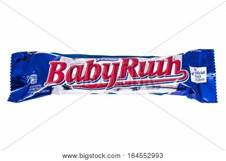 LONDON UK - JANUARY 4TH 2017: A studio shot of a Baby Ruth chocolate bar isolated over a plain white background on 4th January 2017. The product is manufactured by Swiss company Nestle.