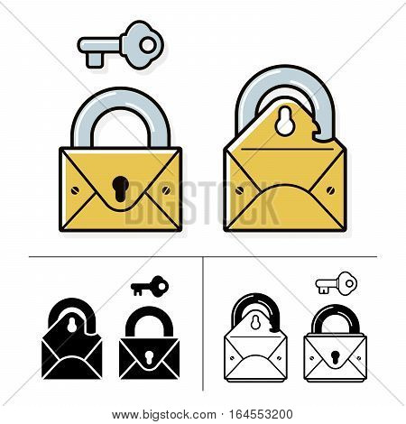 Security lock and mail icon collection with envelope padlock and key. Vector illustration.