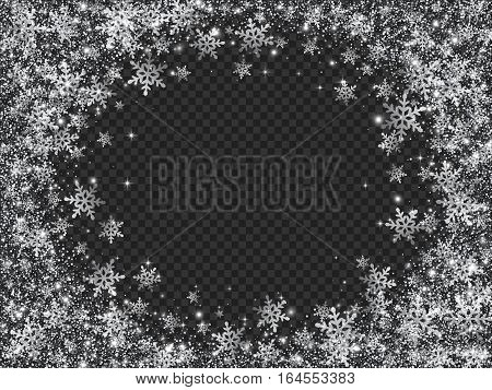 Glittering Snow Blizzard Effect on Transparent Background, Vector Illustration