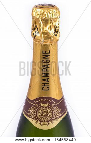 LONDON, UK - JANUARY 4TH 2017: A close-up of the top of a Champagne Bottle, on 4th January 2017.