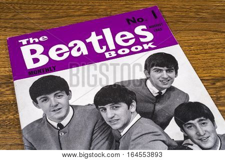 LONDON UK - JANUARY 4TH 2017: Close-up shot of The first issue of The Beatles Monthly Book issued in August 1963 placed on a tabletop pictured on 4th January 2017.