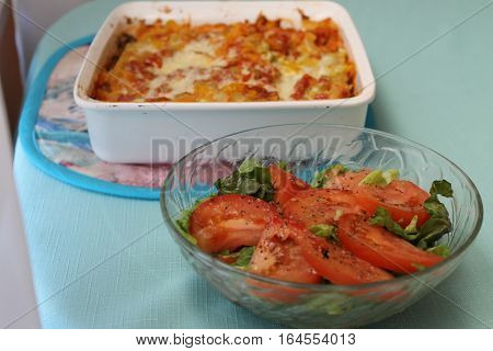 Tomato green salad with the Lasagna dish