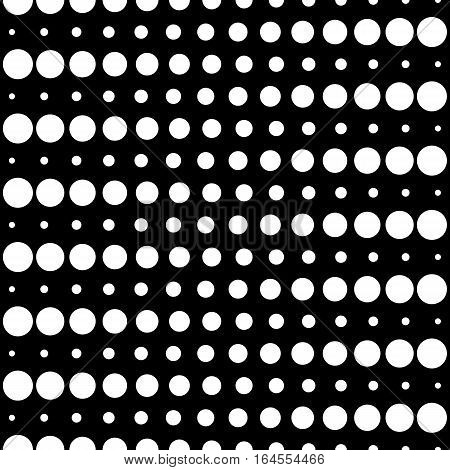 Vector monochrome seamless pattern, different sized circles & dots, black & white horizontal rows. Modern simple endless background. Dark repeat geometric texture for your designs, prints, decoration, textile, digital projects