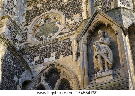 A statue of king Harold on the exterior of Waltham Abbey Church in Waltham Abbey Essex. King Harold II died at the Battle of Hastings in 1066 and is said to be buried in the churchyard.