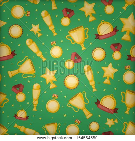 Vector cartoon seamless pattern with golden cups, medals and awards for gift wrapping paper, covering and branding on the green background. Concept of rewarding and winning.