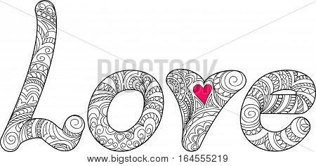 Hand drawn ornamental calligraphical word Love in zen style isolated on white background. Print for decorate romantic holidays wedding t-shirt tunic bag home cards packing present. eps 10