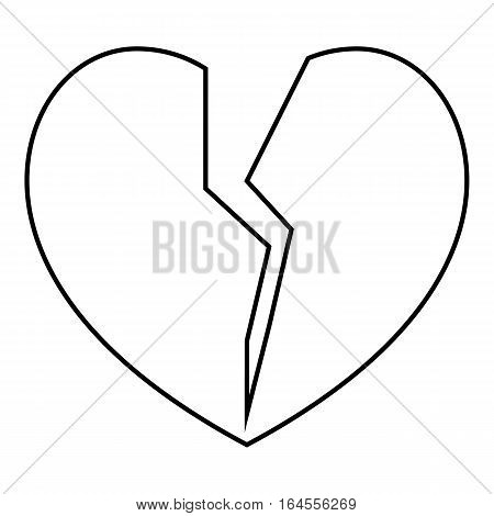 Broken heart icon. Outline illustration of broken heart vector icon for web