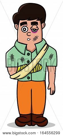 Cartoon illustration of a man getting injury. Vector character.
