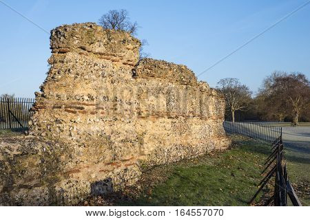 Ruins of part of the Roman Wall of St. Albans located in Verulamium Park. The wall was built to defend the Roman city of Verulamium.