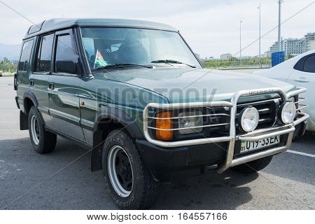 Sochi, Russia - October 11, 2016: Land Rover Discovery Off Road 4x4 parked. There have been two generations of the vehicle the first of which was introduced in 1989.