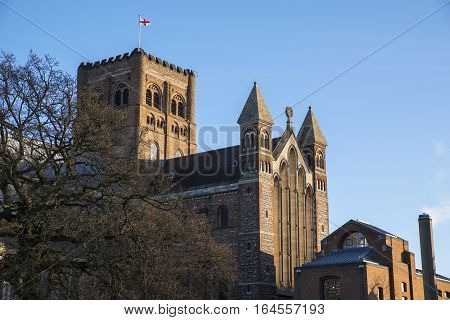 A view of the historic St. Albans Cathedral in Hertfordshire England.