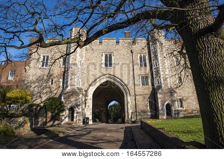 The beautiful Abbey Gateway in St. Albans, UK.