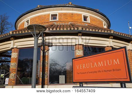ST. ALBANS UK - JANUARY 5TH 2017: The exterior of the Verulamium Museum in the historic city of St. Albans on 5th January 2017. The museum educates about everyday life in Roman Britain.