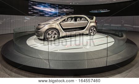 DETROIT MI/USA - JANUARY 9 2017: A Chrysler Portal Concept minivan at the North American International Auto Show (NAIAS).