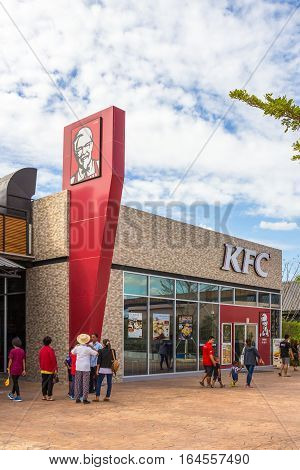 Buriram Thailand - January 3 2017: Kentucky Fried Chicken (KFC) restaurant in Buriram castle Thailand. KFC is a fast food restaurant chain headquartered in United States.