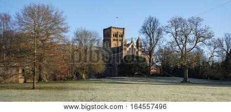 A view of the magnificent St. Albans Cathedral viewed from Verulamium Park in the historic city of St. Albans England.