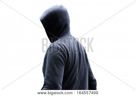Person in hoodies isolated on white background