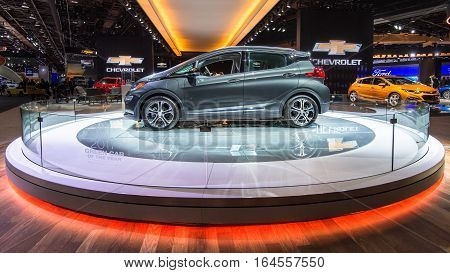 DETROIT MI/USA - JANUARY 9 2017: A 2017 Chevrolet Bolt EV car at the North American International Auto Show (NAIAS).