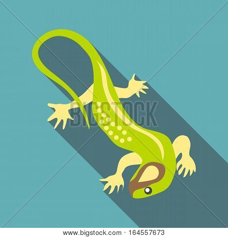 Green lizard icon. Flat illustration of green lizard vector icon for web